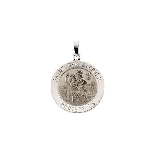 14kt White 20mm St. Christopher Medal