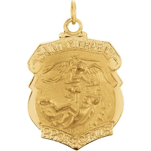 14kt Yellow 24.25x20.5mm St. Michael Medal