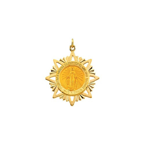 14kt Yellow 32x29mm Miraculous Medal