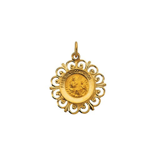 14kt Yellow 20x18.5mm First Holy Communion Medal