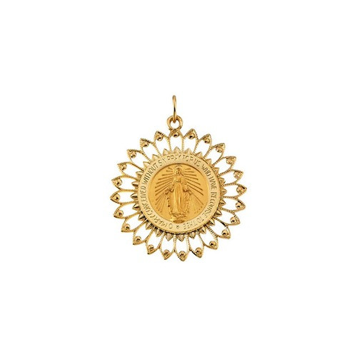 14kt Yellow 33x30mm Round Miraculous Medal