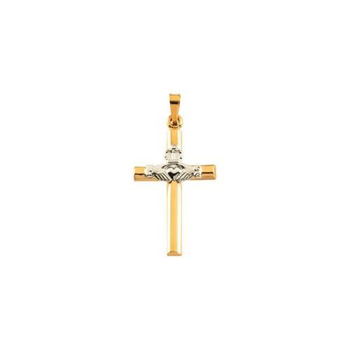 14kt Yellow & White 25x16mm Hollow Claddagh Cross Pendant