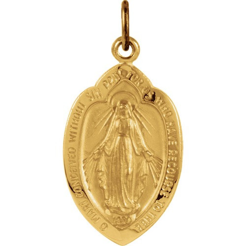 14kt Yellow 18x12mm Badge-Shaped Miraculous Medal