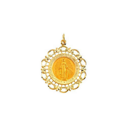 14kt Yellow 31x27mm Round Miraculous Medal