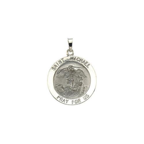 14kt White 22mm St.Michael Medal
