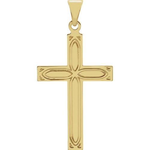 14kt Yellow Gold Design Cross Pendant, 1.29 Grams