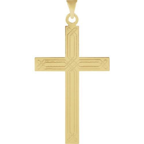14kt Yellow Design Cross Pendant 1.24 Grams