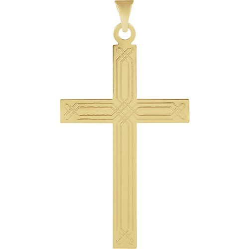 14kt Yellow Design Cross Pendant 1.24 Grams