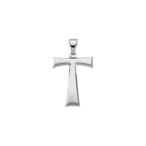 14kt White Tau Cross Pendant with Packaging