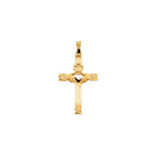14kt Yellow/White Claddagh Cross Pendant