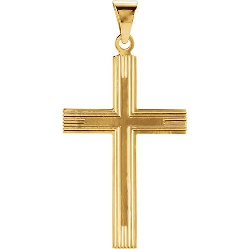 14kt Yellow 28x18mm Cross Pendant with Design
