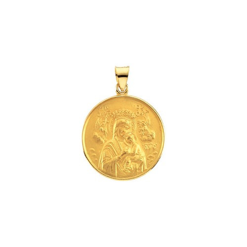 18kt Yellow 24.5mm Our Lady of Perpetual Help Medal