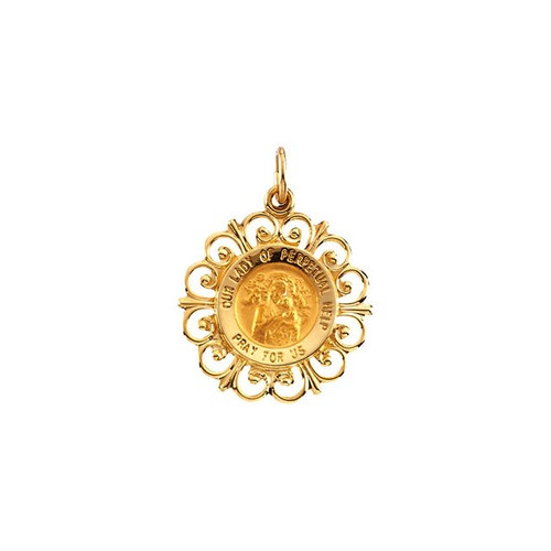 14kt Yellow 18.5mm Round Our Lady of Perpetual Help Medal