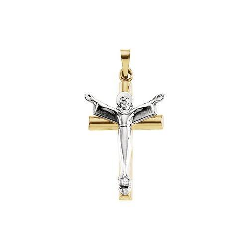 14kt White/Yellow Two Tone Risen Christ Crucifix 32X21