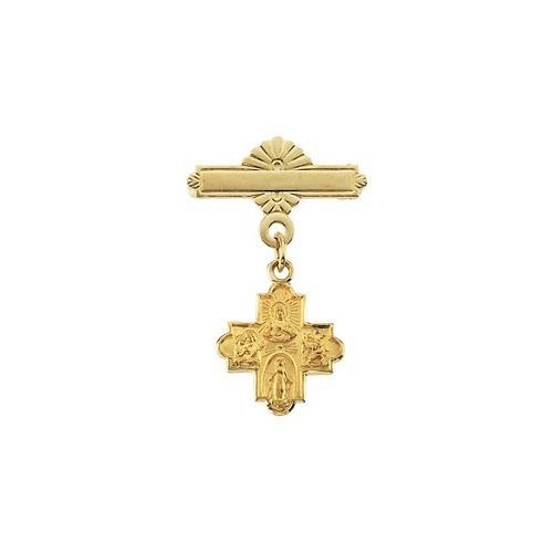 14Kt Yellow 4-Way Cross Baptismal Pin 12X12
