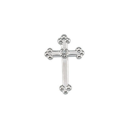 14Kt White Cross Lapel Pin w/ Diamond 14X09