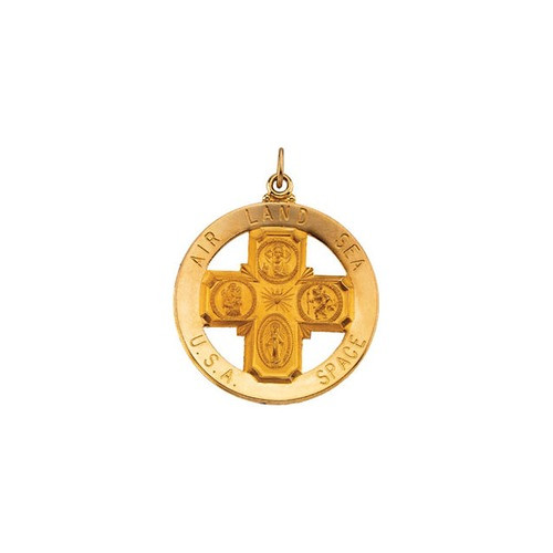 14kt Yellow Gold 32.5mm St. Christopher Four-Way Medal