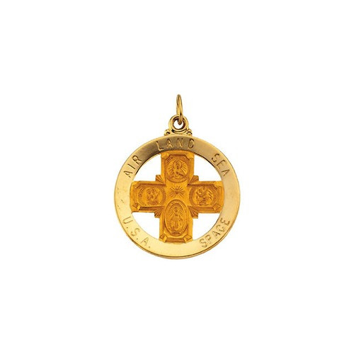 14kt Yellow Gold 25mm St. Christopher Four-Way Medal