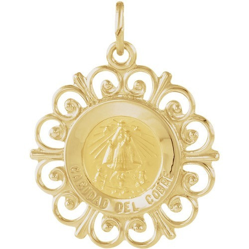 14kt Yellow Gold 18.5mm Caridad Del Cobre Medal