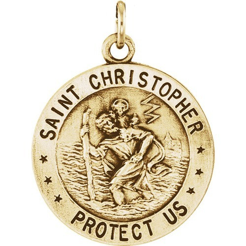 14kt Yellow Gold 18mm Reversible St. Christopher/U.S. Army Medal