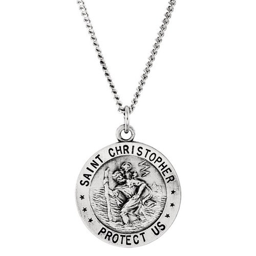 """Sterling Silver 18mm St. Christopher U.S. Air Force Medal 18"""" Necklace"""