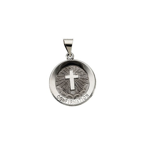 14kt White Gold 18.25mm Hollow Confirmation Medal