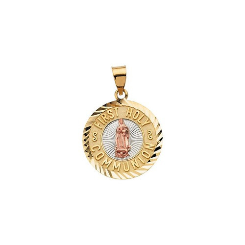 14kt Yellow Gold 19.75mm Tri-Color First Holy Communion Medal