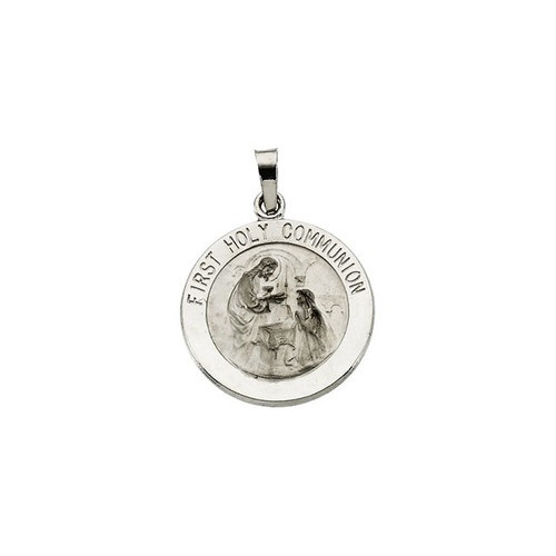 14kt White Gold 18mm First Communion Medal