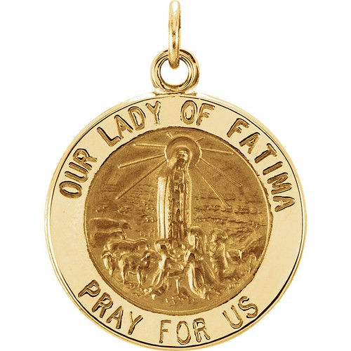 14kt Yellow 25mm Round Our Lady of Fatima Medal
