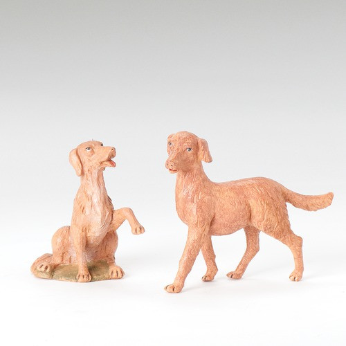 "Fontanini Dog Figure 2 pc set 12"" Scale"