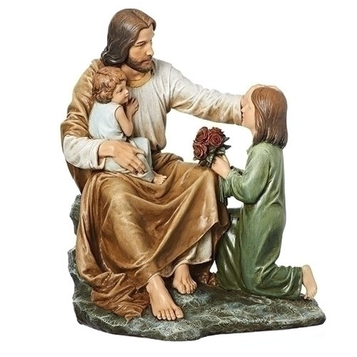 Jesus Sitting With Two Children Statue