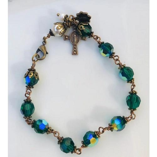 Emerald Green Crystal & Bronze Rosary Bracelet