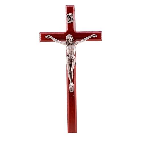 Cherry Crucifix w/ Silver Corpus - 10 inch