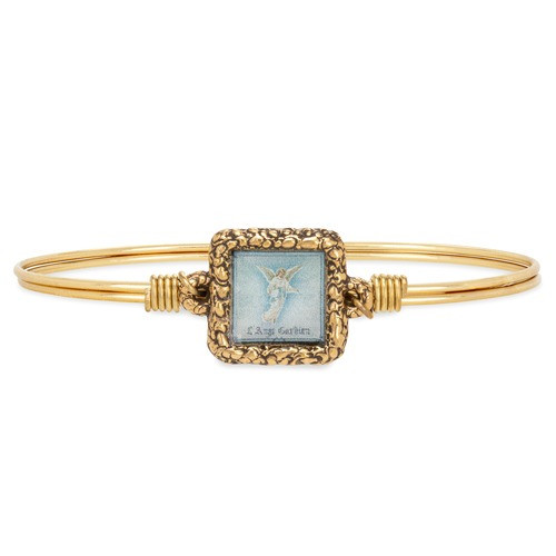 Guardian Angel Square Brass Bangle