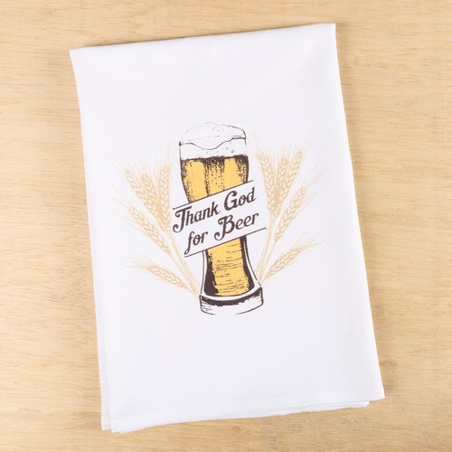 """""""Thank God for Beer"""" Dish Towel"""