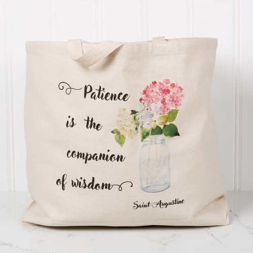 """Patience"" Watercolor Canvas Market Tote"