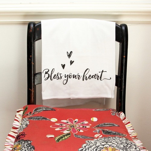 "Black & White ""Bless Your Heart"" Flour Sack Dish Towel"