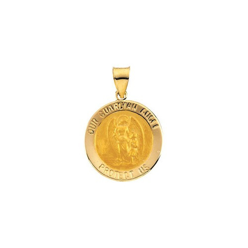 14kt Yellow Gold 18.25x18.5mm Hollow Round Guardian Angel Medal
