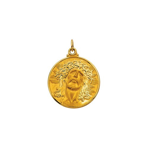 14kt Yellow Gold 23mm Round Face of Jesus (Ecce Homo) Medal
