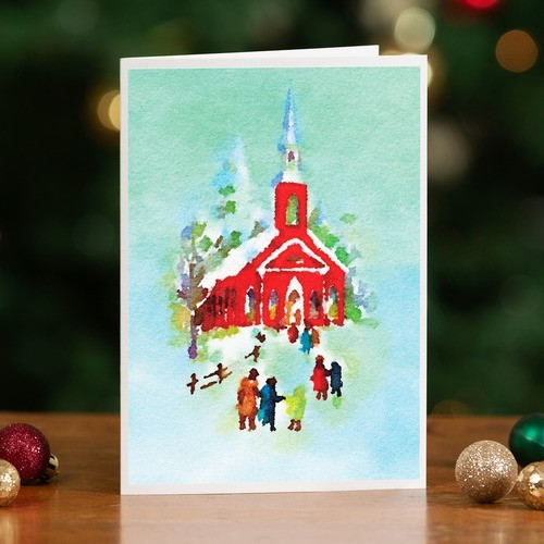 Watercolor Church Christmas Cards - Set of 20