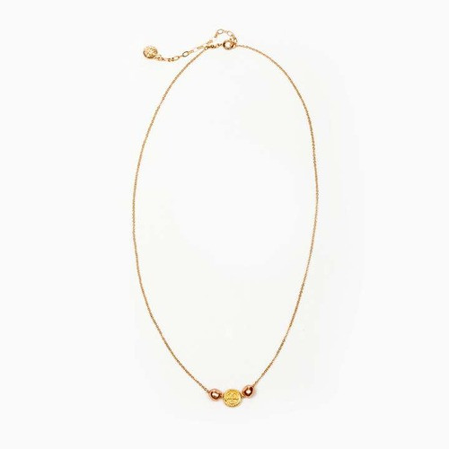 Gold Tone St. Benedict Necklace with Rose Gold Pearls