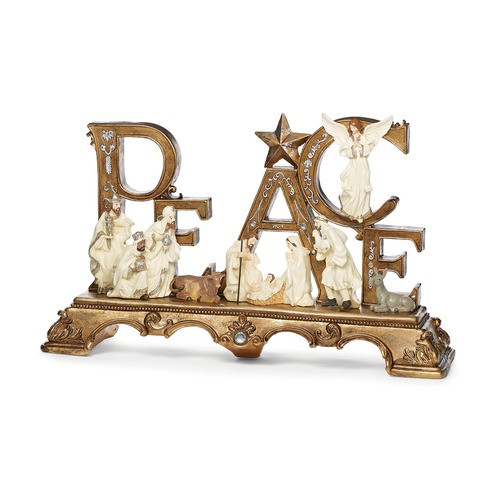 """Peace Nativity Tabletop Figure - 13"""""""