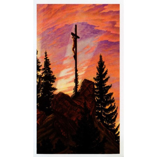 Cross on Mountain Personalized Prayer Card (Priced Per Card)