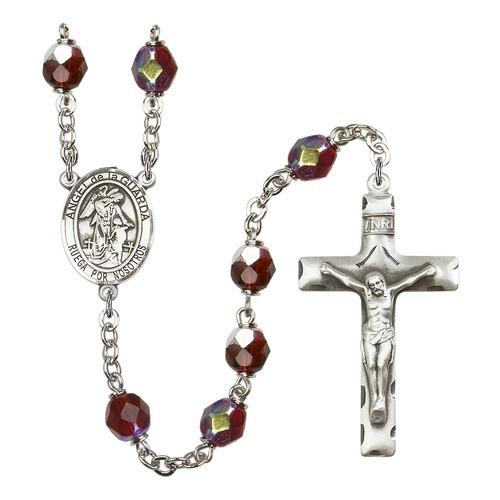 Angel De La Guardia Red January Lock Link Aurora Borealis Rosary 7mm