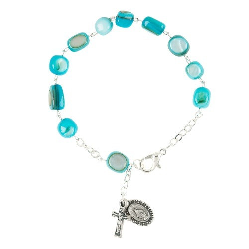 Aqua Blue Glass Bead Rosary Bracelet