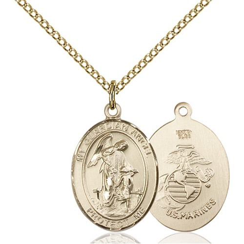 14kt Gold Filled Guardian Angel / Marines Pendant