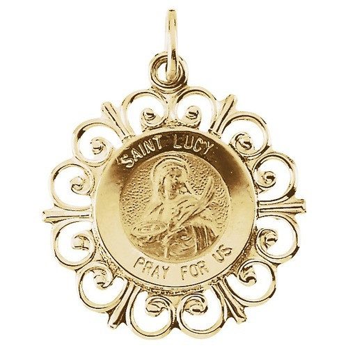 14kt Yellow Gold 18.5mm Round St. Lucy Medal
