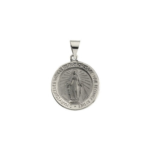 14kt White Gold 18.25mm Hollow Round Miraculous Medal