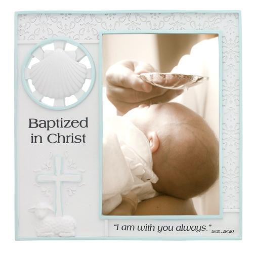 Baptized in Christ Blue Trim Photo Frame