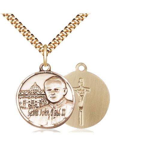 14kt Gold Filled Pope John Paul II Pendant / Vatican